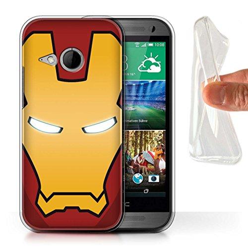 Stuff4® Gel TPU Hülle/Case für HTC One/1 Mini 2 / Rot/Gold Roboter Muster/Superheld-Helm Kollektion