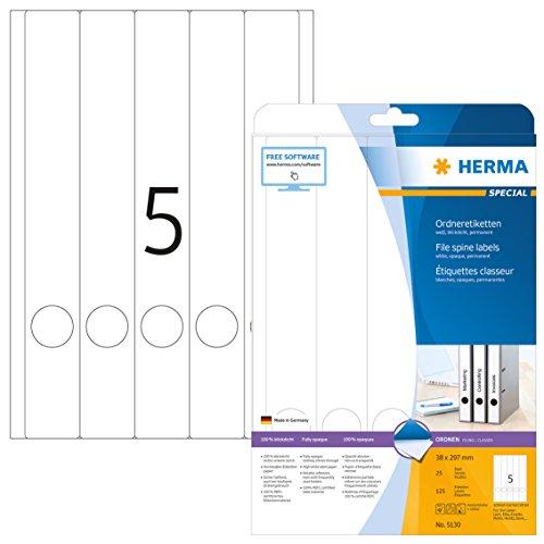 Herma 5130 Ordnerrücken Etiketten blickdicht, schmal/lang (38 x 297 mm) 125 Ordneretiketten, 25 Blatt DIN A4 Papier matt, weiß, bedruckbar, selbstklebend