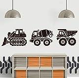Cartoon Bau Lkw Wandaufkleber Spielzimmer Kinderzimmer Set Von 3 Construciton Kipper Bulldozer Cement Truck Wandtattoo 18Cmwide * 3 Stücke