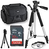 Deals Number One 32GB+57'' Inch Tripod Professional Accessory Kit For All Canon, Nikon, Sony, Panasonic, Olympus Cameras, Kit Includes 10 Compact Accessories
