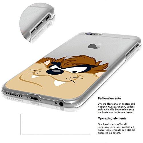 finoo | IPHONE 6 / 6S Lizensierte Hardcase Handy-Hülle | Transparente Hart-Back Cover Schale mit Looney Tunes Motiv | Tasche Case mit Ultra Slim Rundum-schutz | Tweety freut sich Taz grinst