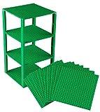 Stapelbare Premium-Bauplatten - inkl. neuen verbesserten 2x2-Bausteinen - kompatibel mit allen großen Marken - geeignet für Turm-Konstruktionen - Set aus 10 Platten - je 6' x 6' (15,2 x 15,2 cm) - Grün