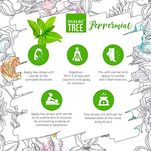 Speaking Tree 100% Pure & Natural Peppermint Essential Oil For Aromatherapy - 15Ml With Steel Roller Bottle
