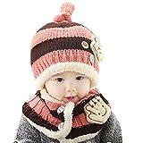 AnKoee Casquette Bonnet et écharpe Bébé Hiver Chapeaux Enfants Chaud Chapeau De Bonnet Tricoté (Rose - Marron)