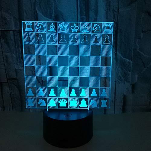 Optische Täuschung 3D Schach Nacht Licht 7 Farben Andern Sich USB Adapter Touch Schalter Dekor Lampe LED Lampe Tisch Kinder Brithday Weihnachten Geschenk,Bwithremotecontrol - Sockel Schach