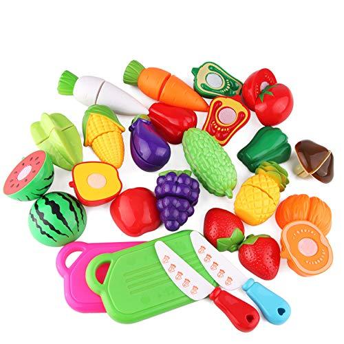 COJJ Küchenspielzeug Schneiden Lebensmittel Obst Gemüse mit Klett-Verbindung, Kinderküche Essen Spielküche Kaufladen Zubehör Pädagogisches Lernen Spielzeug Rollenspiele (20 PCS)