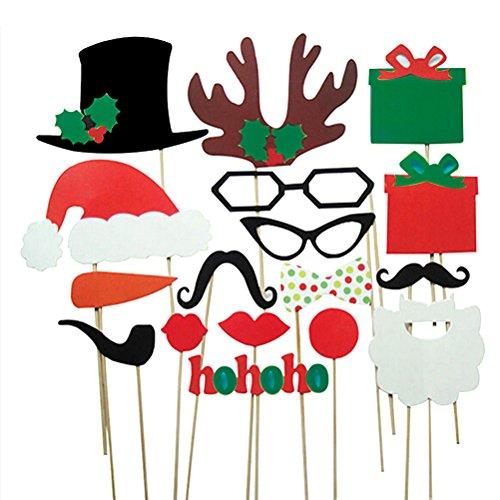 PIXNOR Photo Booth Props für Weihnachten Hochzeit Party Brille Schnurrbart rote Lippen Hirsch Horn Weihnachtsmütze auf Sticks, Pack 17