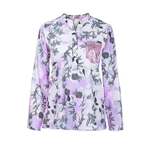 LEXUPE Damen Lose V-Ausschnitt Blumendruck Langarm Bluse Pullover Tops ShirtDamen Print ()