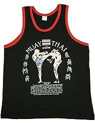 Unisex Jerseys camiseta deporte Muay Thai negro y rojo de algodón, talla XL