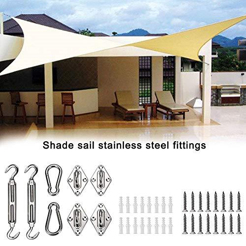Sunflowerany 6-Zoll-Hochleistungs-Sonnenschutzsegel-Hardware-Kit für rechteckige und quadratische Sonnenblendensegel, Sonnensegel-Zubehör mit Schrauben