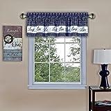 Achim Home Furnishings Live, Love, Laugh Fenster Vorhang Querbehang, Marineblau, 147,3x 35,6cm