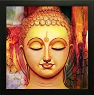 SAF Wooden Synthetic Buddha Painting Poster/ Wall Sticker/ Art Paintings with Special Effect Textured for Livi