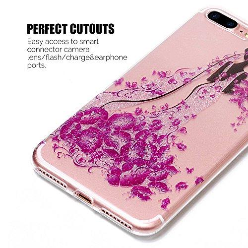 Coque iPhone 7 Plus , Etui iPhone 8 , Bling Glitter Transparente TPU Case Silicone Slim Souple Étui de Protection Flexible Soft Cover avec Motif Coloré pour iPhone 7 / 8 Plus Anti Choc Ultra Mince Int Fille