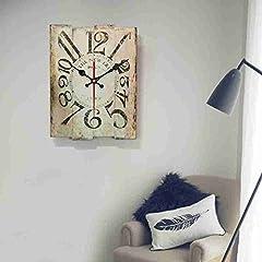 Idea Regalo - Komo con Movimento Silenzioso Sweep Orologio da Parete Orologi in Legno Massiccio Muro Orologio Orologio Mute Moda Creativa Grande tabellone,12 Pollici,Bianco