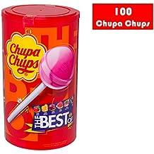 Chupa Chups Caramelo con Palo de Sabores Variados - Tubo 100 unidades de 12 gr/