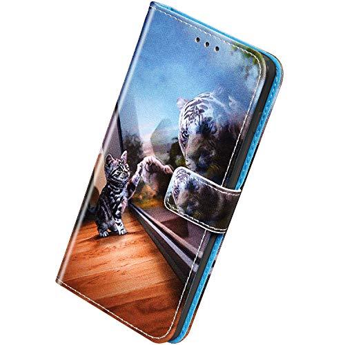 Herbests Kompatibel mit Huawei Honor 9X / 9X Pro Handyhülle Hülle Flip Case Bunt Muster Leder Tasche Schutzhülle Klappbar Bookstyle Lederhülle Ledertasche mit Magnet Kartenfach,Tiger Katze