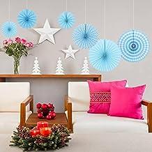 6pc Mixed Color y tamaño Pack pañuelos de papel ventilador, papel de seda pompones, linternas de papel, bolas, para niñas habitación decoración de Navidad boda cumpleaños aniversario fiesta, azul celeste, medium