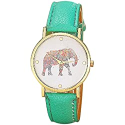 Anglewolf Fashion Women Elephant Printing Pattern Weaved Leather(PU) Quartz Dial Watch,Green