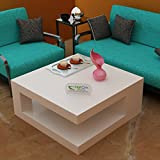 #10: Hariom Handicraft Square Shape Solid Sheesham Wooden Coffee Table / Center Table -Livng Room Furniture ( White)