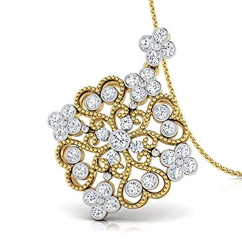 14K Or blanc 0,48CT TW Round-cut-diamond (IJ | SI) Pendentif