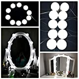 10 Stück LED Spiegellampen, Hollywood-Stil Spiegelleuchte, Spiegellicht Set für Kosmetikspiegel, 500cm Leinenlänge einstellbar, Wasserdicht IPX5 Schminkspiegel Lampen mit 7000K Licht, 5 Niveau Dimmbar Beleuchtung, USB-Netzteil