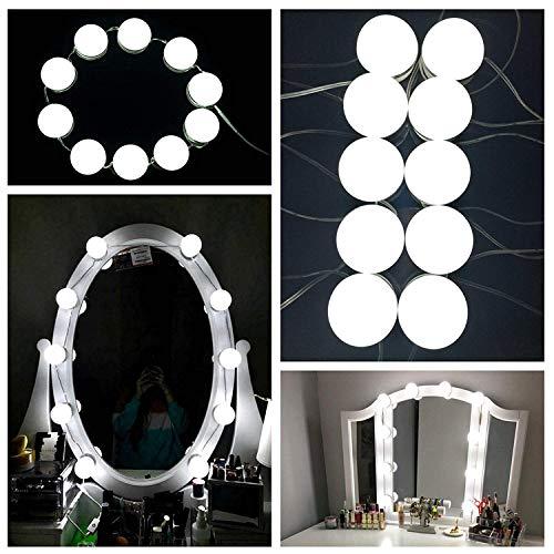 10 Stück LED Spiegellampen, Hollywood-Stil Spiegelleuchte, Spiegellicht Set für Kosmetikspiegel, 500cm Leinenlänge einstellbar,...