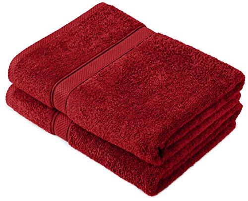 Pinzon by Amazon Handtuchset aus Baumwolle, Cranberry-Rot, 2 Badetücher, 600g/m²