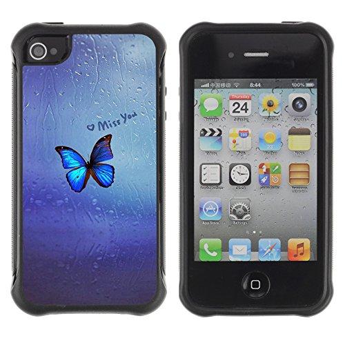 Graphic4You Blue Butterfly And Flowers Design Harte Hülle Case Tasche Schutzhülle für Apple iPhone 4 und 4S Design #11