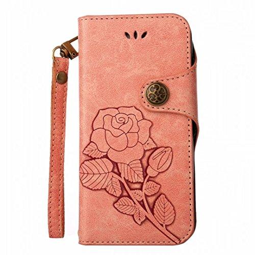 Yiizy handyhülle Apple IPhone 7 Plus hülle, Roses Tasche Leder Schutzhülle PU Ledertasche Bumper Schutz Flip Cover Case Magnet Beutel Klappe Silikon Gummi huelle Schale Stehen Kartenhalter Stil (Grün) Rosa