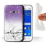eSwish Personalizzato Glitterato Ombre Personalizzare Custodia/Cover Gel/TPU per Samsung Galaxy Ace 4 Neo/G318 / Marmo Bianco Viola Brillante Design/Iniziale/Nome/Testo Caso/Cassa