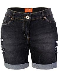 westAce Damen Jeans Shorts mit Destroyed-Optik Boyfriend Stretch Denim  Kurze Hose 3849762406