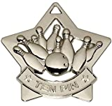 60mm Silver Ten Pin Bowling Medal with Free Ribbon AM729S No Engraving is available with this product. -  - amazon.co.uk