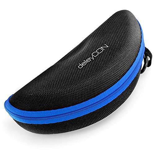deleyCON Brillenetui Hardcase Hartschalen Etui Brillentasche Brillenbox Hardcover Tasche Brillen Lesebrillen Sonnenbrillen Brillenputztuch - Schwarz Blau