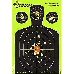 Paquet de 25 - 30,5x 45,7cm Silhouette Splatterburst Objectifs de tir - Les coups jaunes fluorescents brillants sont faciles à voir - Excellente pour toutes les armes à feu, fusils, pistolets, fusils à air et Airsoft.