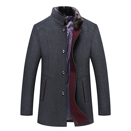 YOUTHUP Wintermantel Herren Kurz Business Slim fit Fleece Mantel Dufflecoat mit Fell Stehkragen