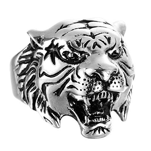 Bishilin Titan Männer Ring Titanring Silber Tier Kopf Tiger Herrenring Punk Freundschaftsring Silber Größe 57 (18.1)