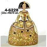 DonRegaloWeb - Figura menina de resina color dorado y flores rosas