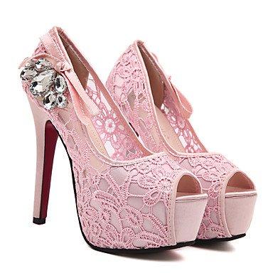 Moda Donna Sandali Sexy donna tacchi Primavera / Estate / Autunno Comfort informale di pizzo Stiletto Heel rosa cristallo di mandorle / a piedi Pink