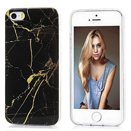 Lanveni Custodia Cover Morbido TPU Silicone Ultra Sottile per iPhone 5/5S/SE Paraurti Protective Case Caso - Disegno Marmo, Grigio Bianco Oro Nero