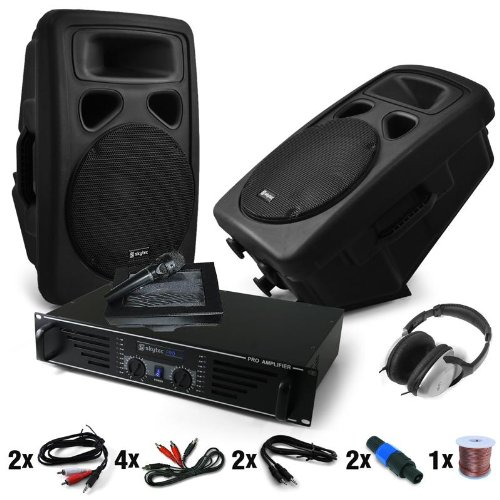 DJ Set Anlage Bass Blast Force Verstärker PA-Boxen 1600W