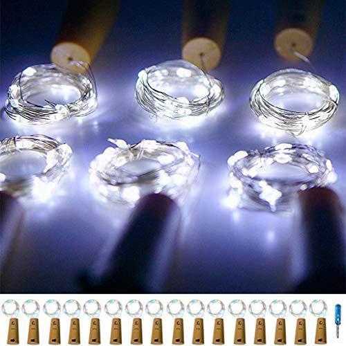FeiliandaJJ 16Pcs Lichterkette Flaschenlicht 15LED Kupferdraht Energiesparen Umweltschutz Cork Lichter LED Licht Hochzeit Party Halloween Xmas Innen Haus Deko String Lights (Weiß)
