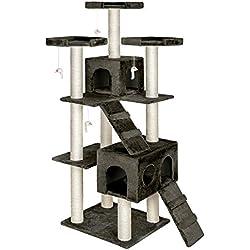 TecTake rascador para gatos árbol para gatos sisal juguetes 186cm - disponible en diferentes colores - (Gris | no. 400525)