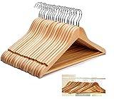 Romote - Juego de perchas de madera para ropa, ropa, perchas de madera, pantalones y pantalones (20)