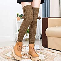 YUCH Rodilleras para Mujeres Cálido Knit Over The Knee Calcetines High Tube,Kaqi,Talla Única