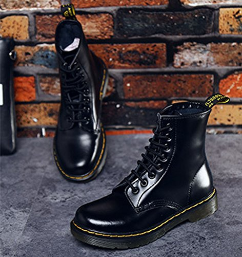 Unisex-Damen Herren Fashion Leder Knöchel Boots Winter Kampf Stiefel Martin Stiefel Rivet Halbschaft Biker Bootsschuhe Gürtelschnüre Schwarz Lack