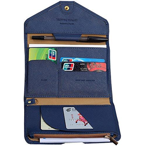 reise-brieftasche reisepass-halter, Portefeuille, Multifunktionale Portemonnaie aus PU-Leder, Portemonnaie, dreifach gefaltet, Organizer - Blau (Stift-halter Dreifach)