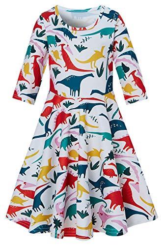 Funnycokid Mädchen Kleider Kinder Langarm Weiche Kinder Drucken Meerjungfrau Kostüm Taufe Kinder Outfit Regenschirm Dress Up Für 4-5 T (Meerjungfrau Dress Up Kostüm)