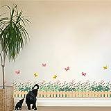 GJGFNJ Gartenzaun Blume Schmetterling Wandaufkleber Für Kinderzimmer Kinderzimmer W Indow 3D Effekt Wohnkultur Kinder Wandtattoo Kunst