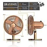 Brandson - Retro Tischventilator im Kupfer Design | 3 Geschwindigkeitsstufen | Zuschaltbare 80° Oszillation | Neigungswinkel ca. 40° | robustes Voll-Metallgehäuse