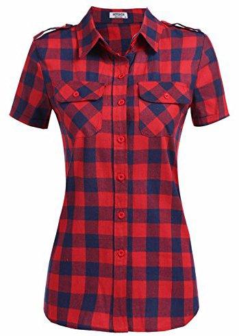 HOTOUCH Damen Hemd Karierte Blusen Karobluse Kurzarmhemd Plaid Leichtes Shirt Mit Abgerundetem Saum Rot Navyblau XL (Rot Karierten Uniform)